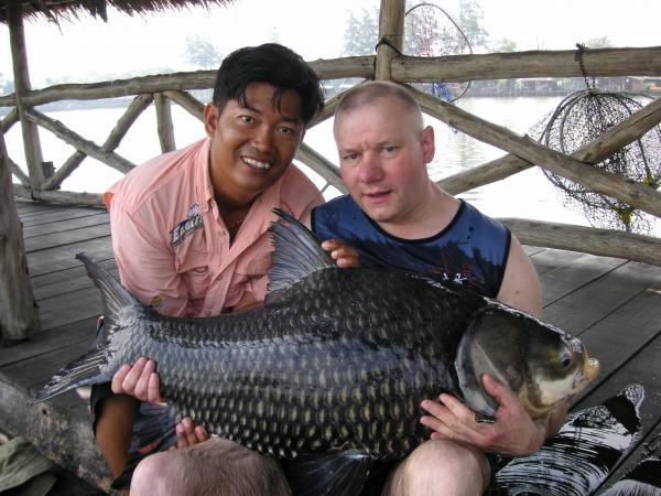 Giant Siamese carp caught from Bungsamlan Lake in Bangkok