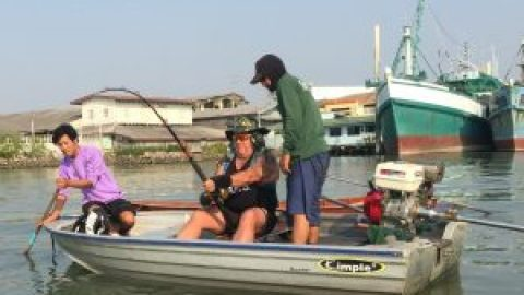 Fishing for stingrays and sharks in Thailand