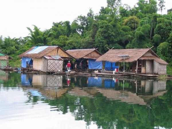 Floating bungalows at Khao Laem Dam in Kanchanaburi province.